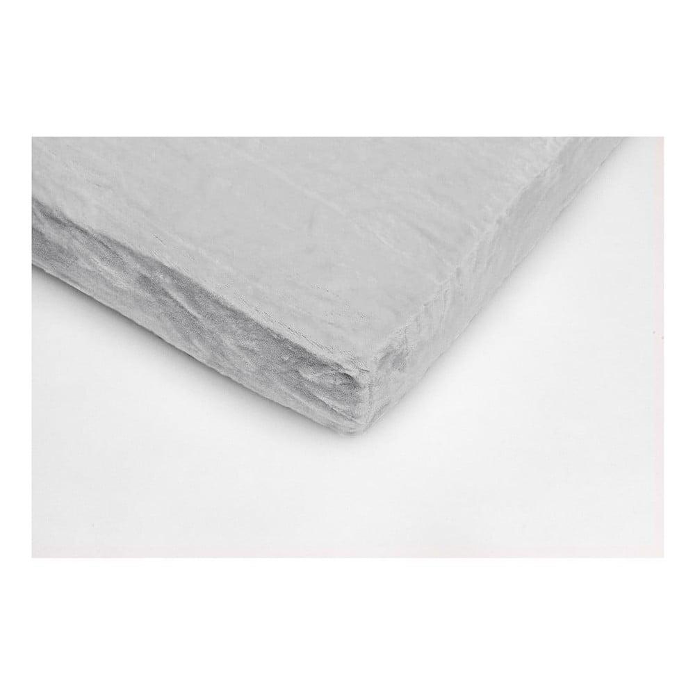 Stříbrné mikroplyšové prostěradlo na dvoulůžko MyHouse, 180 x 200 cm