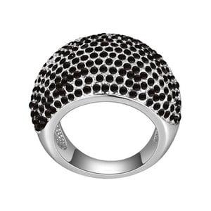 Prsten s černými krystaly Swarovski Dome, velikost 52