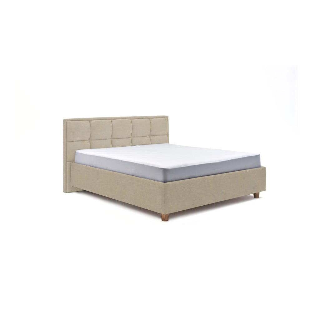 Béžová dvoulůžková postel s roštem a úložným prostorem ProSpánek Karme, 180 x 200 cm