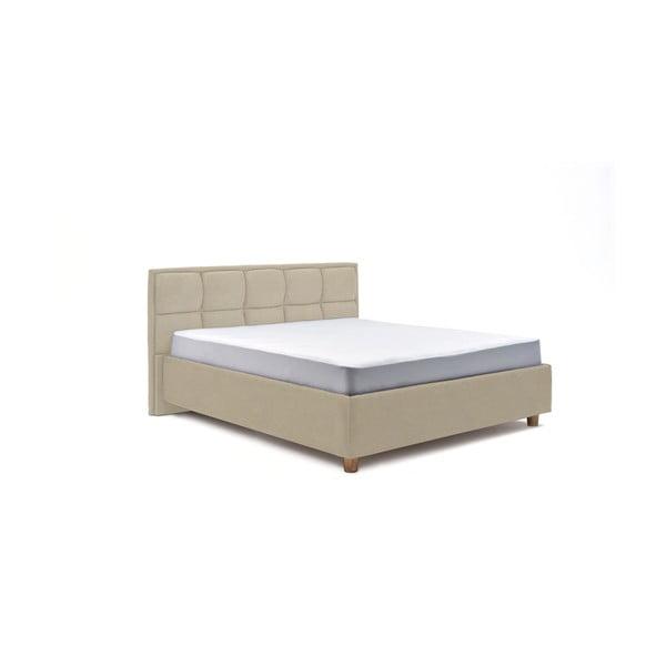 Béžová dvojlôžková posteľ s úložným priestorom PreSpánok Karme, 180 x 200 cm