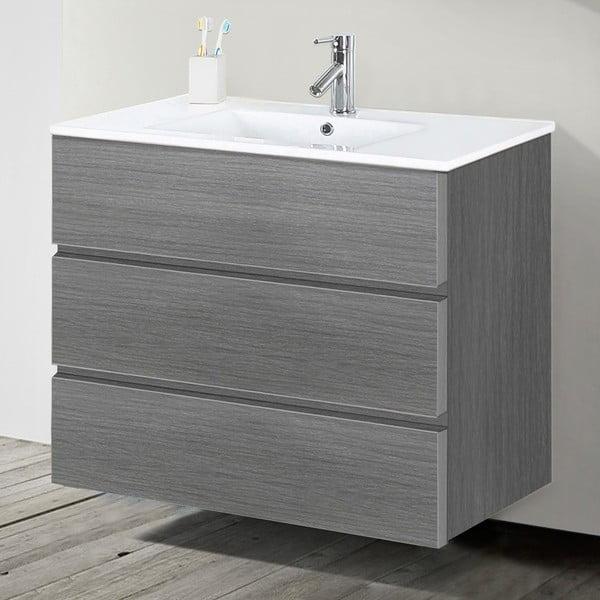 Koupelnová skříňka s umyvadlem a zrcadlem Nayade, odstín šedé, 90 cm