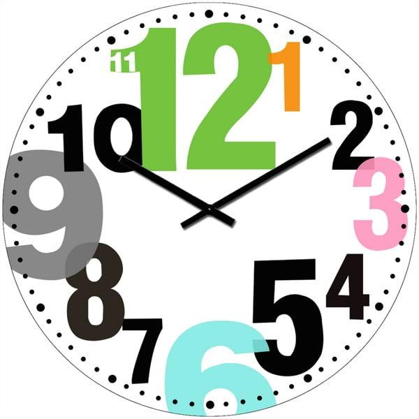 Skleněné hodiny Barevná čísla, 34 cm