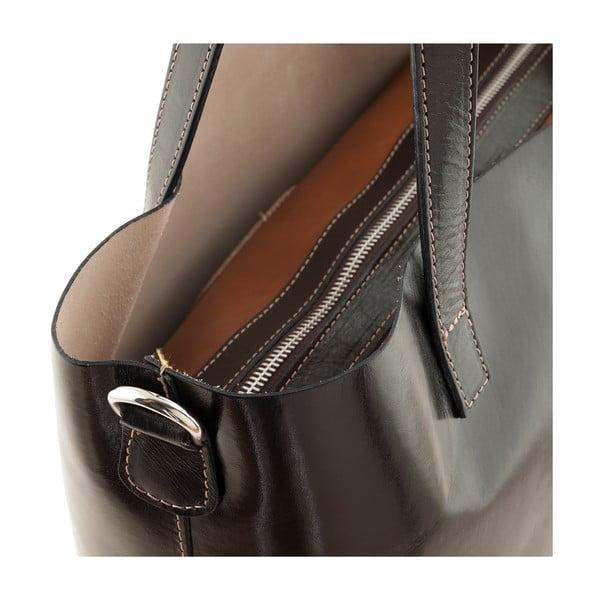 Tmavě hnědá kožená kabelka Ore Diece Trapani