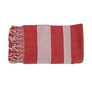 Prosop țesut manual din bumbac premium Basak, 100 x 80 cm, roșu