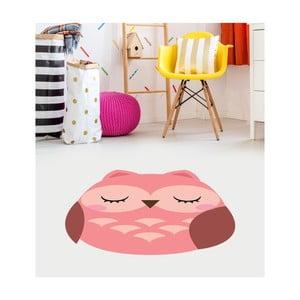 Růžový dětský vinylový koberec Floorart Sova, 75 x 100 cm