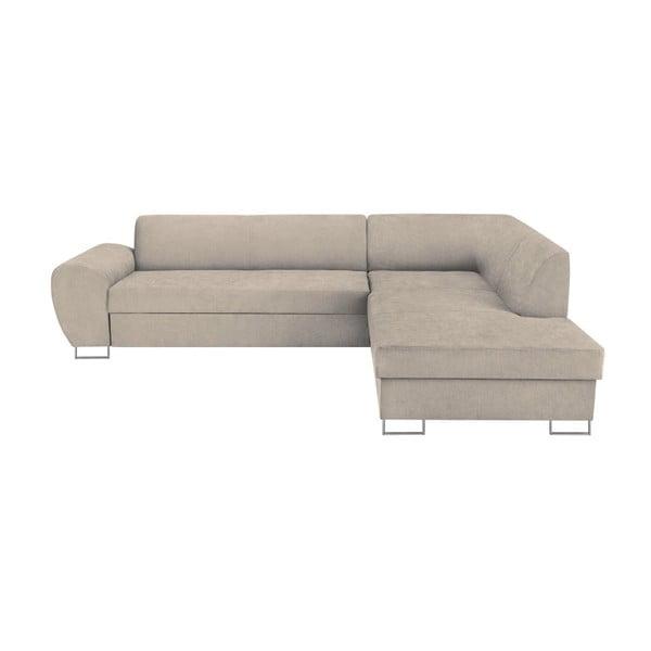Canapea extensibilă cu spațiu pentru depozitare Kooko Home XL Right Corner Sofa, bej