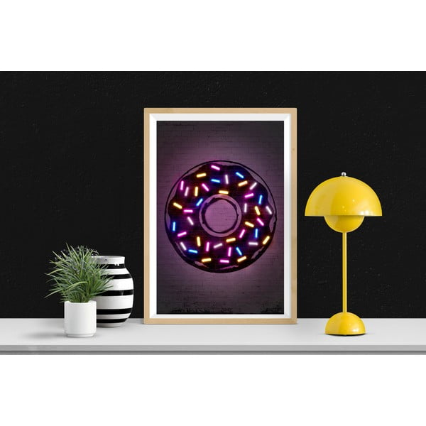 Poster Blue-Shaker Neon Art Donuts, 30 x 40 cm