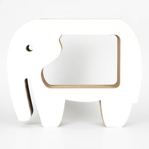 Bílý kartonový stolek tvaru slona Dekorjinal Pouff Elephant, 60x49cm