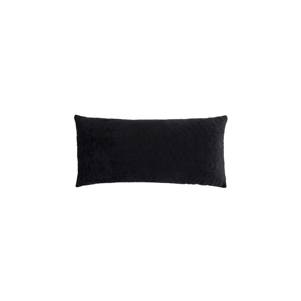 Černý polštář White Label Iris, 60x30cm