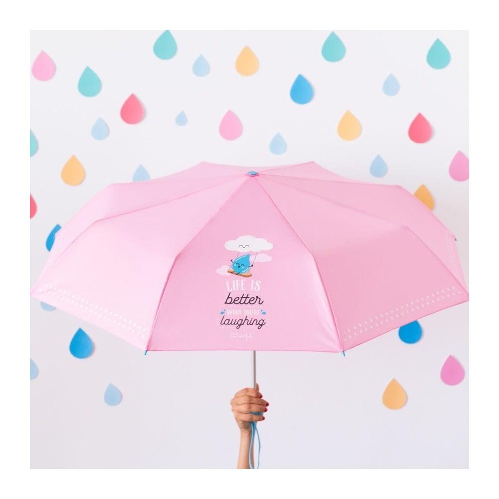 Růžový deštník Mr. Wonderful Life is Better
