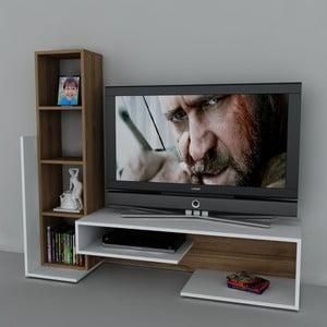 Televizní stěna Bend White/Walnut, 39x153,6x130,9 cm