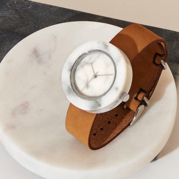 Bílé mramorové hodinky s hnědým řemínkem Analog Watch Co. Marble