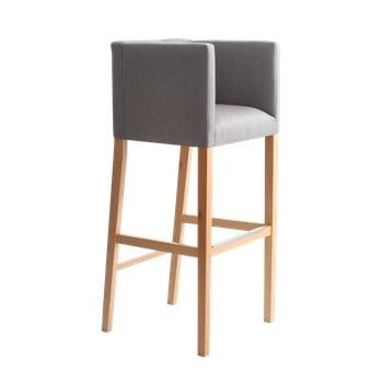 Scaun bar cu suport pentru brațe și picioare de culoare naturală Custom Form Wilton, gri