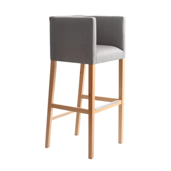 Wilton szürke bárszék, kartámasszal és natúr fa lábakkal - Custom Form