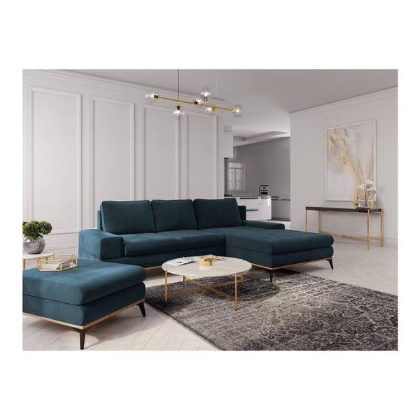 Canapea extensibilă de colț Windsor & Co Sofas Planet, pe partea dreaptă, albastru petrol