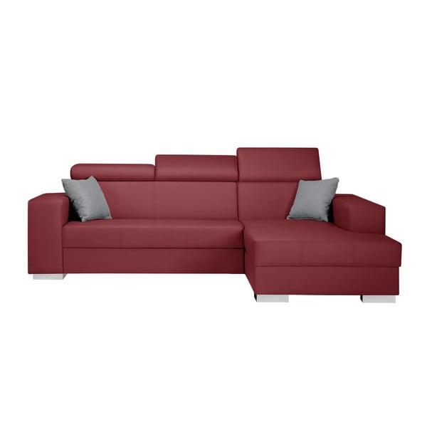 Červená sedačka s šedými polštáři Interieur De Famille Paris Tresor, pravý roh