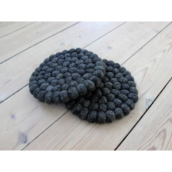 Ball Coaster antracit golyós gyapjúalátét, ⌀ 20 cm - Wooldot