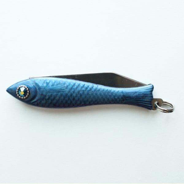 Tmavě modrý český nožík rybička s krystalem v oku v designu od Alexandry Dětinské