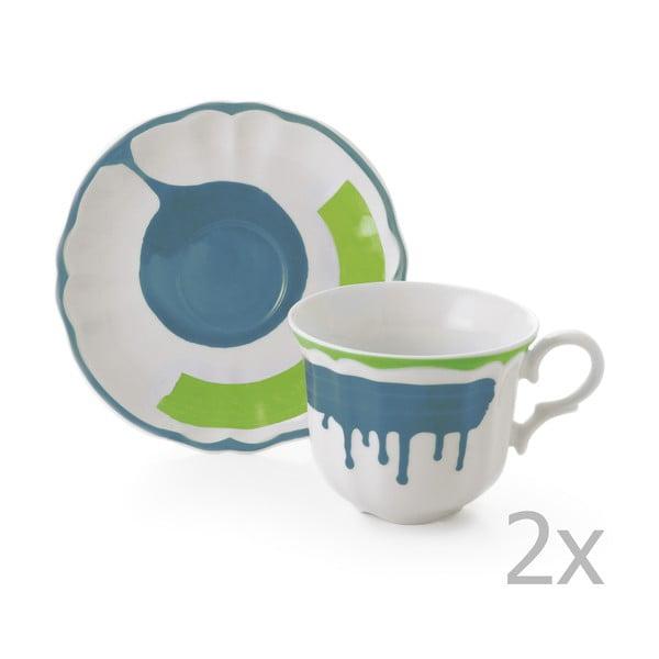 Sada 6 hrnků a 6 talířků Giotto Green/Turquoise