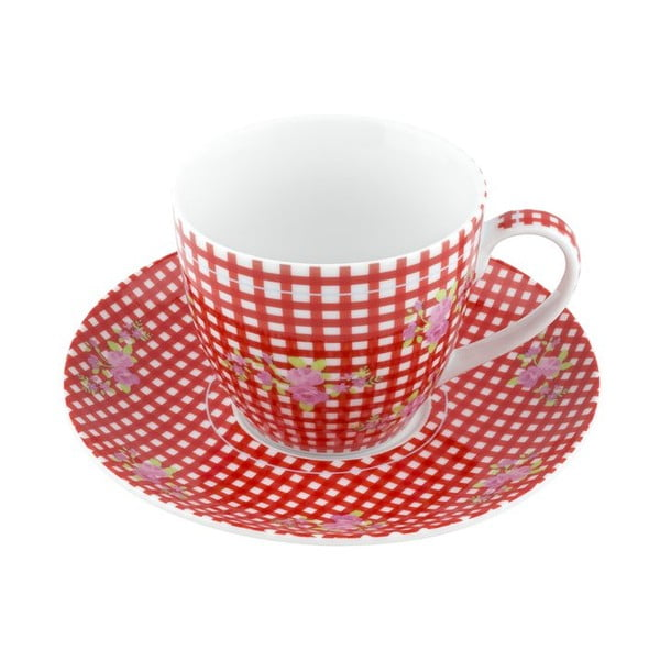 Porcelánový šálek s podšálkem Karo, červený 4 ks