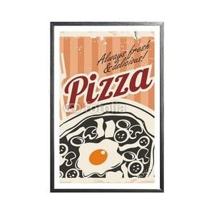 Zarámovaný plakát Vintage Pizza, černý rám