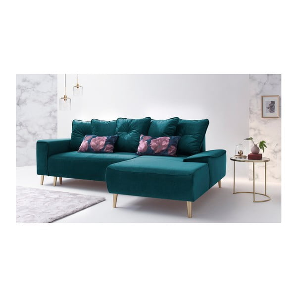 Canapea extensibilă cu șezlong pe partea dreaptă Bobochic Paris Hera, albastru închis