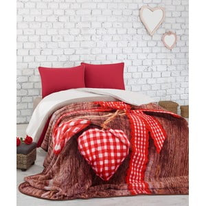 Červený přehoz na dvoulůžko přes postel Lovebox, 240 x 220 cm