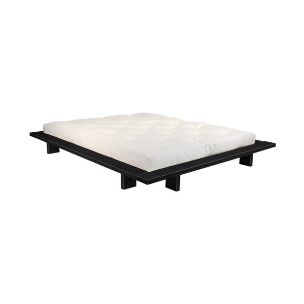 Łóżko dwuosobowe z drewna sosnowego z materacem Karup Design Japan Double Latex Black/Natural, 140x200 cm