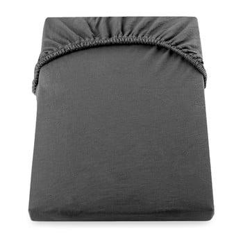 Cearșaf de pat cu elastic DecoKing Nephrite, 180–200 cm, gri închis de la DecoKing