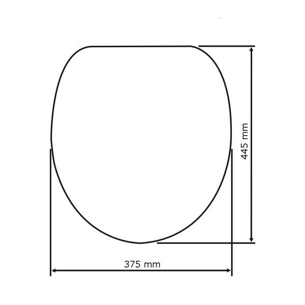 Šedé WC sedátko se snadným zavíráním Wenko Samos, 44,5 x 37,5 cm