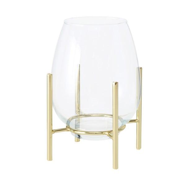 Szklany świecznik z konstrukcją w kolorze złota Boltze Taro