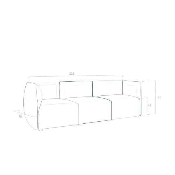 Béžová pohovka pro tři Vivonita Cube Sawana