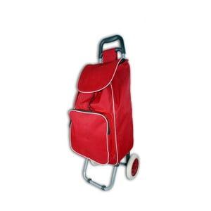 Červený nákupní košík na kolečkách s termo kapsou Jocca