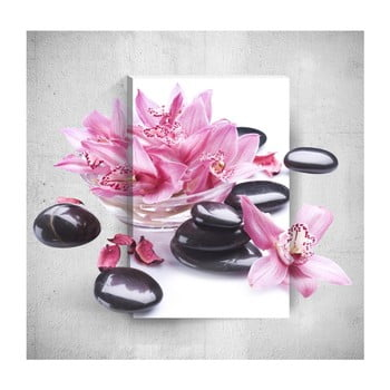 Tablou de perete 3D Mosticx Pink Flowers With Pebbles, 40 x 60 cm de la Mosticx