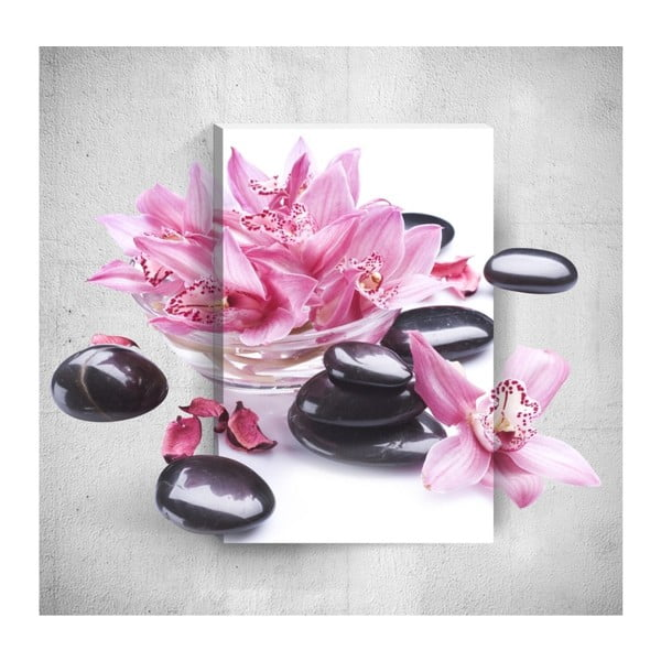 Tablou de perete 3D Mosticx Pink Flowers With Pebbles, 40 x 60 cm
