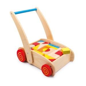 Dřevěné chodítko se stavebnicí Legler Toy Blocks