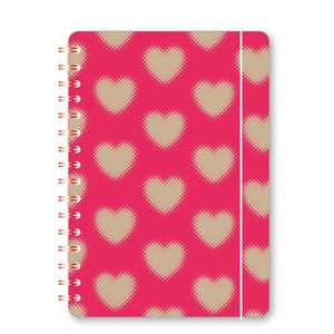 Růžový zápisník A6 s kroužkovou vazbou GO Stationery Hearts