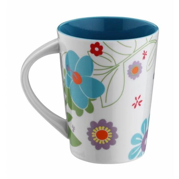 Modrý porcelánový hrnček Flowers, 400 ml