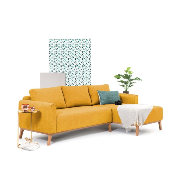 Hořčicově žlutá pohovka s lenoškou na pravé straně Vivonita Milton