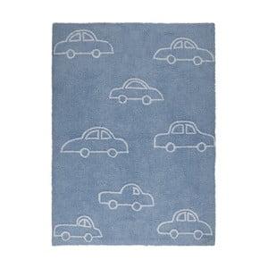 Modrý bavlněný koberec Happy Decor Kids Coches, 160x120cm