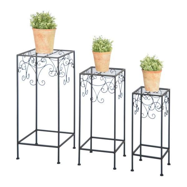 Sada 3 čiernych stolíkov na kvety Esschert Design