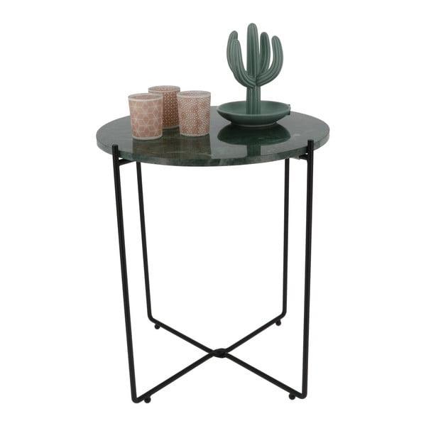 Ciemnozielony stolik z marmurowym blatem Compactor Agneta