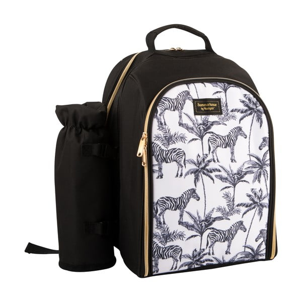 Czarno-biały plecak termiczny z wyposażeniem piknikowym dla 2 osób Navigate Madagaskar, 15 l