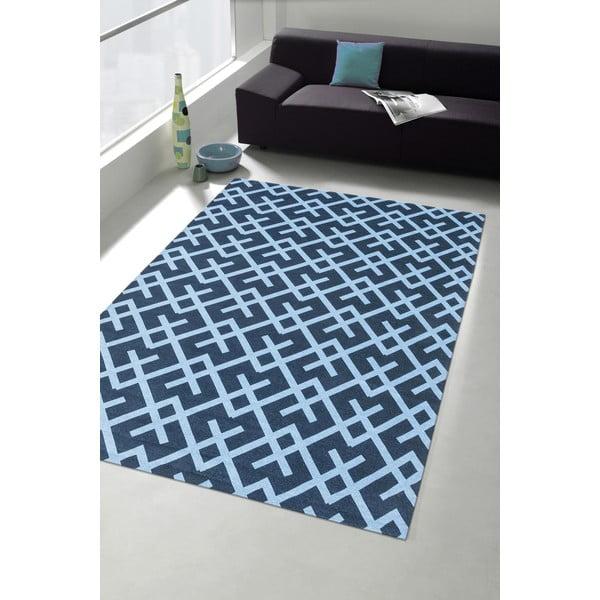 Vysoce odolný kuchyňský koberec Webtappeti Labyrinth Blue, 80x130 cm