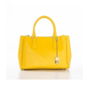 Žlutá kožená kabelka Federica Bassi Saffi