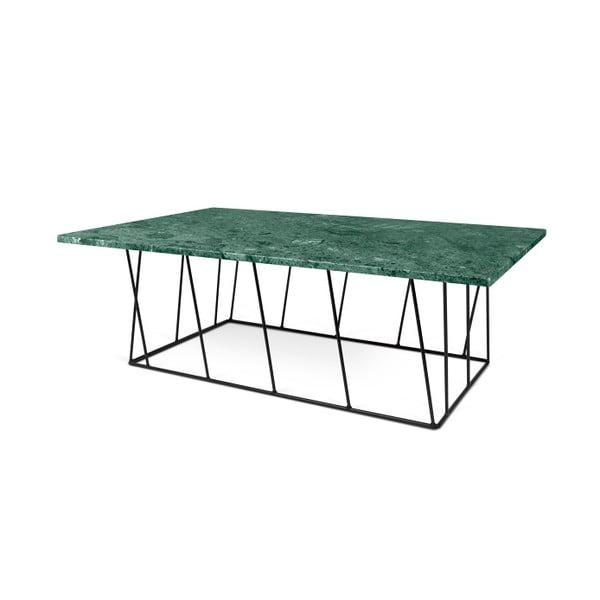 Zelený mramorový konferenční stolek s černými nohami TemaHome Helix, 120 cm