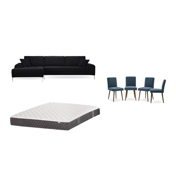 Set canapea neagră cu șezlong pe partea stângă, 4 scaune albastre și saltea 160 x 200 cm Home Essentials