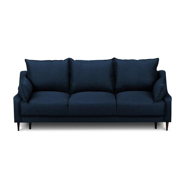 Canapea extensibilă cu 3 locuri și spațiu pentru depozitare Mazzini Sofas Ancolie, albastru