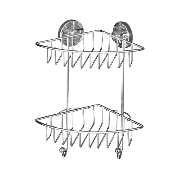 Dvoupatrová rohová polička bez nutnosti vrtání Wenko Vacuum-Loc,až 33 kg