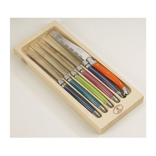 Set 6 cuțite inox pentru friptură, în cutie de lemn, London Jean Dubost London